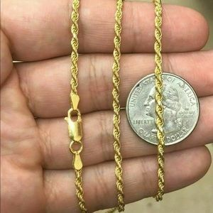 "Real 925 Yellow Gold Rope Chain 3MM 24"" Necklace"